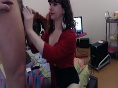 Sexy brunette in stockings sucks and gets banged hard