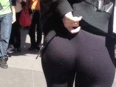 Hot chick yanks tights on her ass