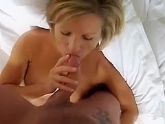 Big messy facial for my blonde wife