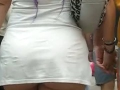 Upskirt video of a chick in a short white tennis outfit