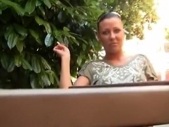 Hot  woman gets fucked in public.