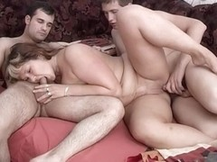 Resting Granny Gets Gangbanged By Two Young Studs