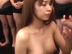 Exotic Japanese slut in Incredible Facial, Gangbang JAV clip
