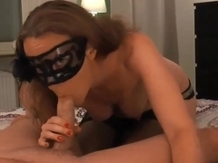 Hot girl with a mask blowing big cock