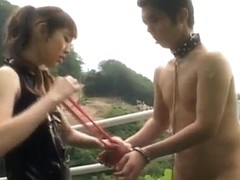 Tomoka Matsunami fucks man in mouth and ass with strap