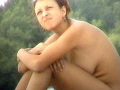 Busty Latina dreams about something being naked at the beach