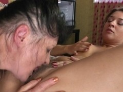 Hirsute youthful lesbo having great pleasure with her mature