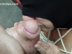 lovely linda bound sucking saline filled cock and balls