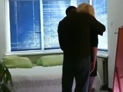 Cuckold tapes his blonde wife with sex lingerie fucking a stranger with condom