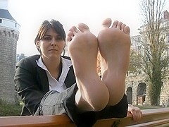 French barefeet girl with long slender soles