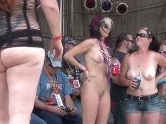 naked biker chicks getting ready to have a wet tshirt contest