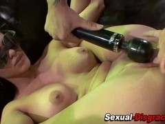 Chained sub toyed and fucked