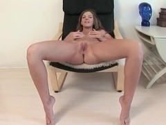 Teen goddess is playing with her wet pussy
