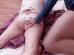 Homemade Beautiful booty milf disrobes and fucks like a pro