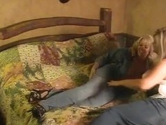 Lesbian milfs fuck in crotchless jeans