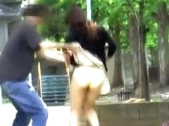 Delightful noisy angel loses her skirt when some sharking lad steals it