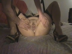 Amateur video of a BBW slut being creampied on her bed