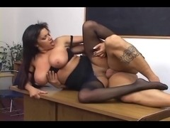 Large boobed honey in ripped up crotchless hose