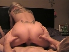 Astonishing blonde Bitch drins dong with her fur pie