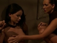 Young cutie Mandy Bright got tied up nude by her girlfriend Sheala Brill and being rudely spanked .