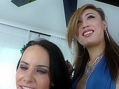 Asian TS Venus Lux bangs cutie chick Katie and shoves dildo toy