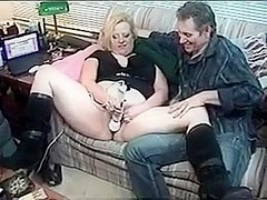 Amateur fat blonde gets fucked and plays with vibrator