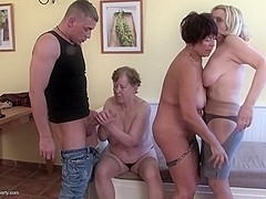 3 Grannies and mature cunts fucked by 1 lucky guy