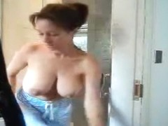 Breasty chick receives hawt in the shower.