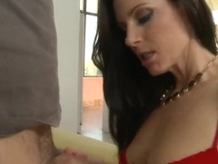 Hot brunette India strips and sucks