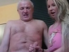 Teen blonde pornstar Clara gives a handjob