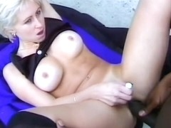 Stunning blonde gets her tight ass fucked hard by a black stud outside