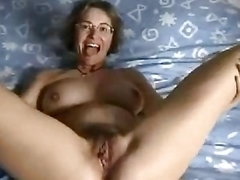 Hell Sexy Unshaved Dilettante Older Beats Up Her Twat