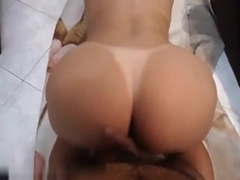 Bootilicious playgirl gangbanged from behind and cummed on her butt