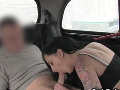 Brunette pays fake taxi fare with sex in public