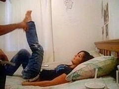 Babe in jeans gets probed