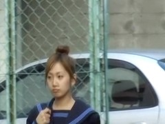 Appealing brown-haired oriental babe getting pulled into sharking meeting