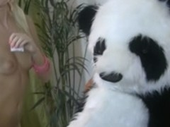 Striptease and sexy fuck for shy Panda