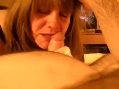 Insatiable mature can't live out of sucking his ramrod in satin gloves