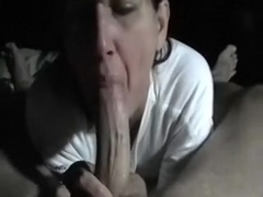 My aged dark brown hair wife receives a load of cum in her mouth