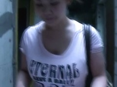 Downblouse attempt on a Chubby Japanese girl with big tits