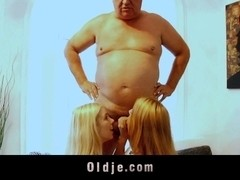 Fat old fart and nasty blonde teens enjoying trio fornication