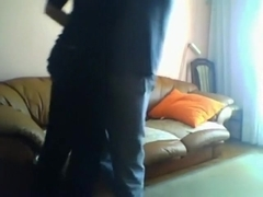 Cuddling with my gf on the sofa and she gives me a quick blowjob