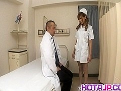 Aya hot nurse takes uniform off to suck and stroke two shlongs