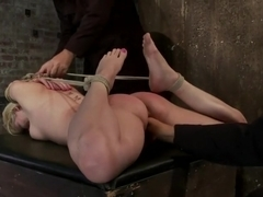 Blond tied into modified Category 4 HogtiedSucks cock, punished to the limit of her flexibility!