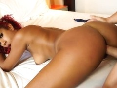 Cuban Afra Red Swallows a Hawt Load of Cum