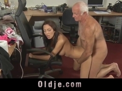 Old man is spoiling the horny pussy of his maid