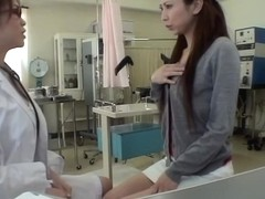 Tall Japanese dicked with a dildo during pussy exam
