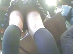 Hot blonde waitress upskirt voyeur vid