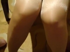 cum on my gf s shiny pantyhosed legs