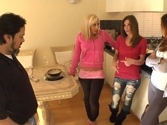 Allie Haze and her gals invite pool repair foremen